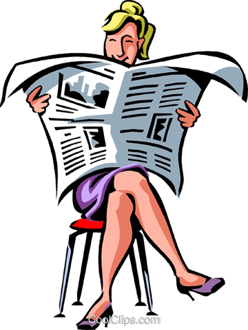 Businesswoman Reading The Newspaper Royalty Free Vector Clip