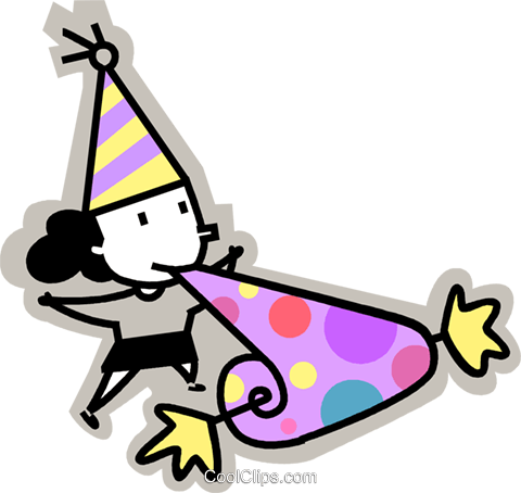 birthday girl blowing into a noise maker Royalty Free Vector Clip Art illustration vc068182