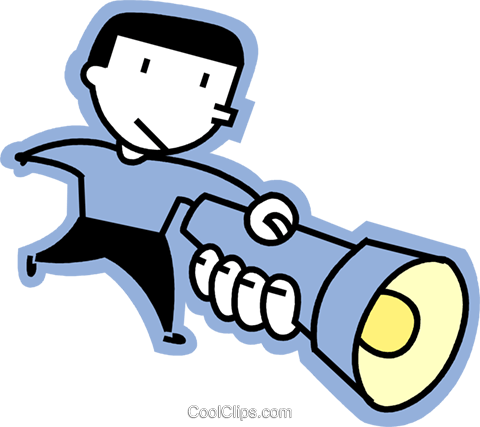 man with a flashlight Royalty Free Vector Clip Art illustration vc068211