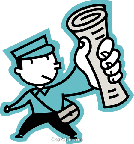 newspaper boy Royalty Free Vector Clip Art illustration vc068301