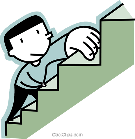 man climbing stairs Royalty Free Vector Clip Art illustration vc068304