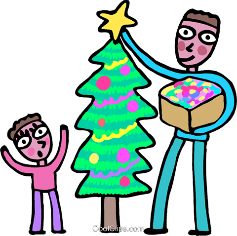 decorating a Christmas tree Royalty Free Vector Clip Art illustration vc068334