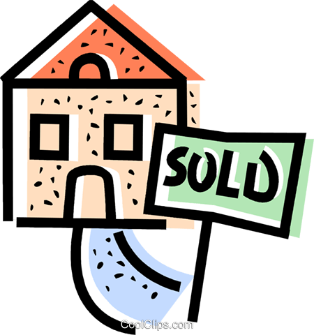 House with a sold sign in the front yard Royalty Free Vector Clip Art illustration vc068386