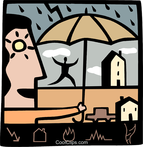 woman sheltering a person from the rain Royalty Free Vector Clip Art illustration vc069022