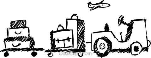Luggage cart carrying luggage Royalty Free Vector Clip Art illustration vc069396