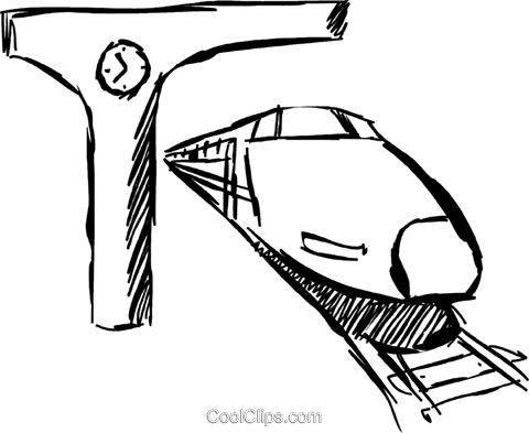 Trains parked at the station Royalty Free Vector Clip Art illustration vc069504
