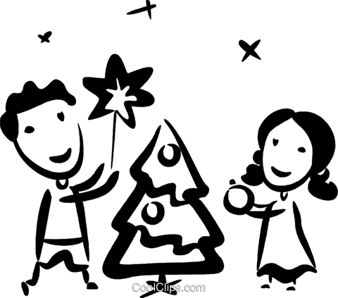 decorating their Christmas tree Royalty Free Vector Clip Art illustration vc070773