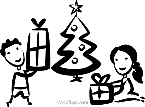 opening their Christmas gifts Royalty Free Vector Clip Art illustration vc070787