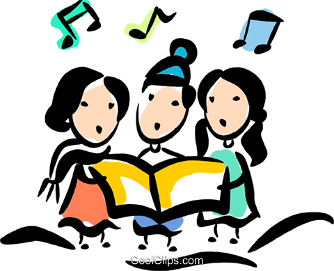 Christmas carolers Royalty Free Vector Clip Art illustration vc070788