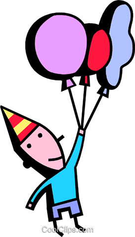 birthday boy and his balloons Royalty Free Vector Clip Art illustration vc074444