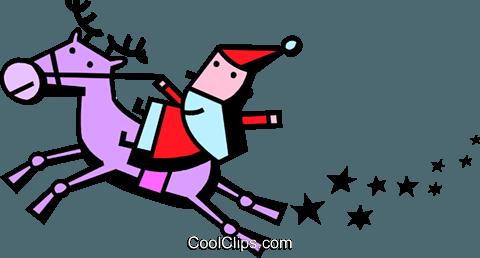圣诞老人骑驯鹿 免版税矢量剪贴画插图