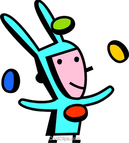juggling Easter eggs Royalty Free Vector Clip Art illustration vc074483