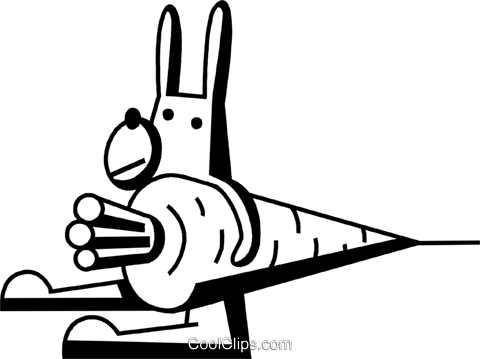 Easter bunny holding a carrot Royalty Free Vector Clip Art illustration vc074612