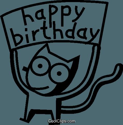 祝你生日快乐猫 免版税矢量剪贴画插图