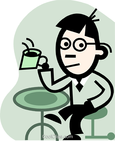 man having coffee Royalty Free Vector Clip Art illustration vc074693