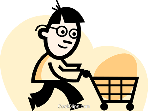 男子买菜 免版税矢量剪贴画插图