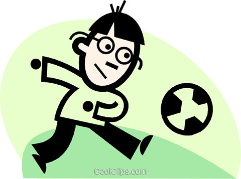 boy playing soccer Royalty Free Vector Clip Art illustration vc074708
