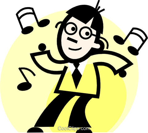 businessman dancing Royalty Free Vector Clip Art illustration vc074710