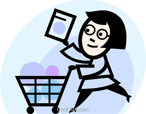 woman grocery shopping Royalty Free Vector Clip Art illustration vc074735