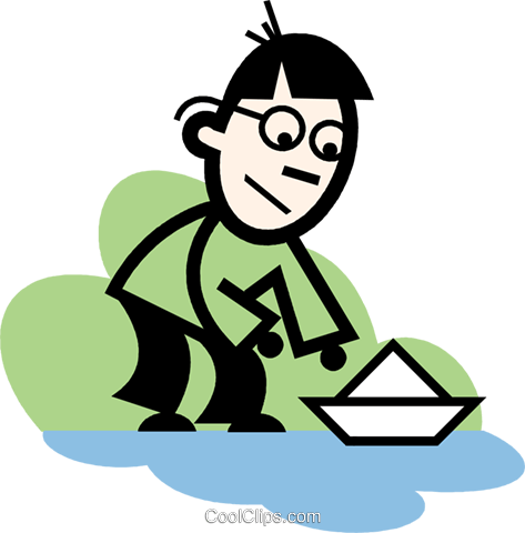 boy sailing a paper boat Royalty Free Vector Clip Art illustration vc074736