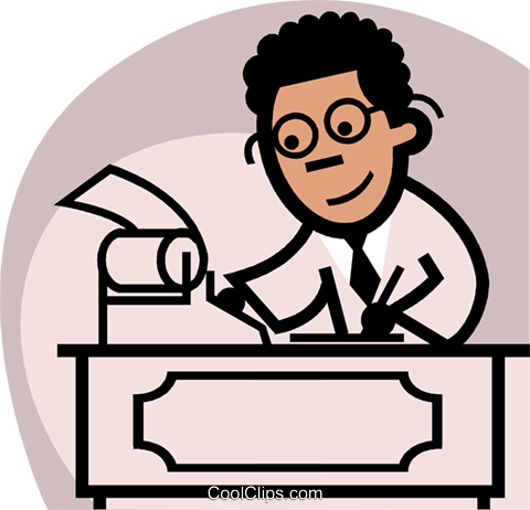 an accountant crunching numbers Royalty Free Vector Clip Art illustration vc074859