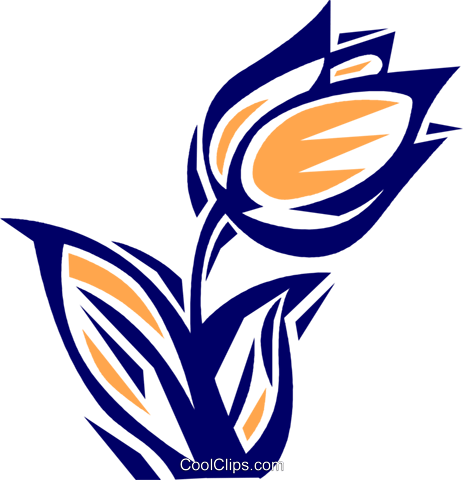 Wind swept tulip Royalty Free Vector Clip Art illustration vc077115
