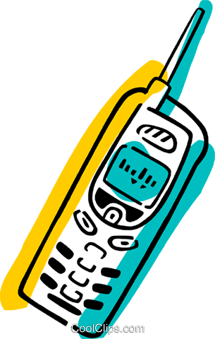 Cellular Wireless and Cordless Phones Royalty Free Vector Clip Art illustration vc077344