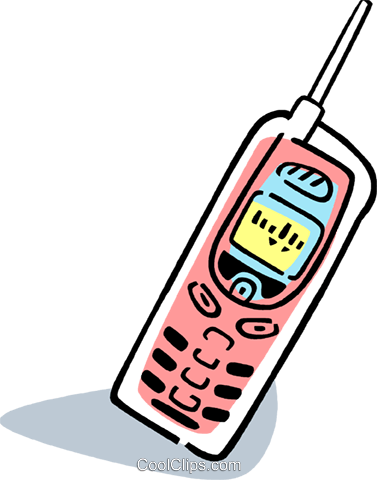 Cellular Wireless and Cordless Phones Royalty Free Vector Clip Art illustration vc077347
