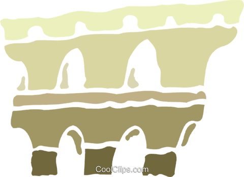 Roman Aqueducts and Walls Royalty Free Vector Clip Art illustration vc078865