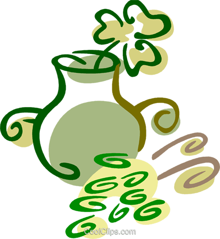 Pot of Gold Royalty Free Vector Clip Art illustration vc079415