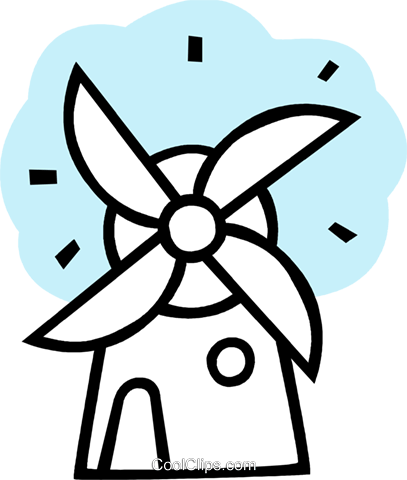 Dutch Windmills Royalty Free Vector Clip Art illustration vc079626