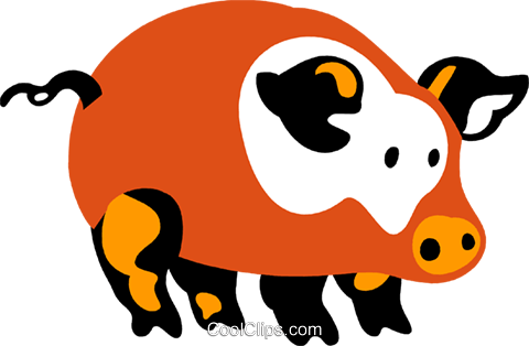 Pigs Royalty Free Vector Clip Art illustration vc080663