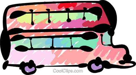 Double-Decker Buses Royalty Free Vector Clip Art illustration vc081501