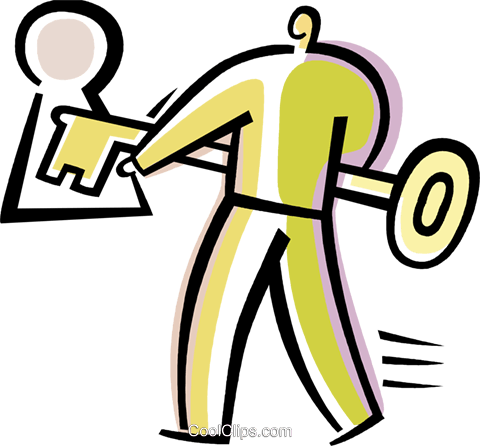 man unlocking a door Royalty Free Vector Clip Art illustration vc082213