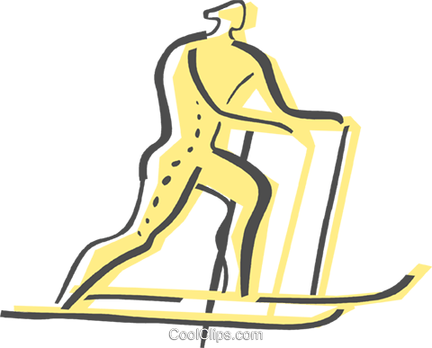 Cross Country Skiing Royalty Free Vector Clip Art illustration vc082447