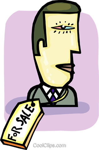 businessman for sale Royalty Free Vector Clip Art illustration vc085503