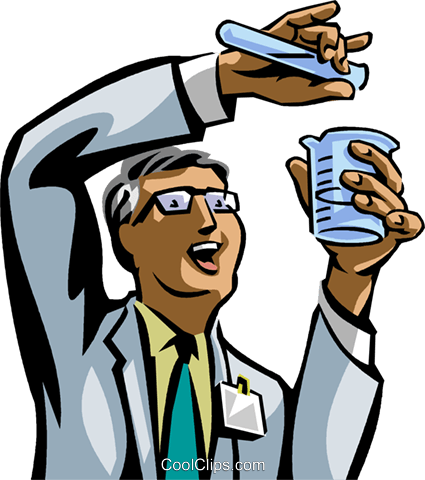 Chemist mixing chemicals Royalty Free Vector Clip Art illustration vc089661