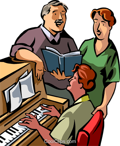 Pianists Royalty Free Vector Clip Art illustration vc089754