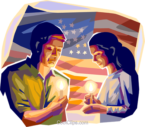 people hold a candle light vigil for  9/1 Royalty Free Vector Clip Art illustration vc089930