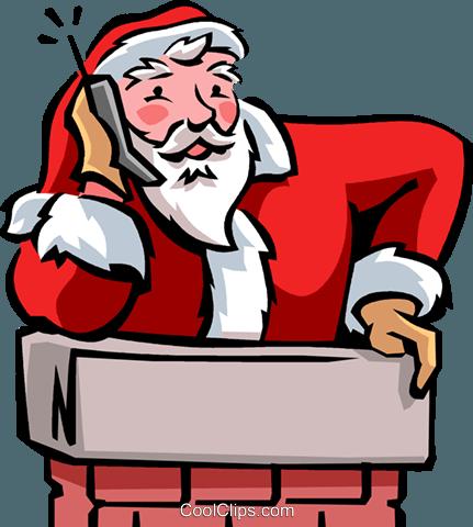 圣诞老人在电话交谈 免版税矢量剪贴画插图 vc090469