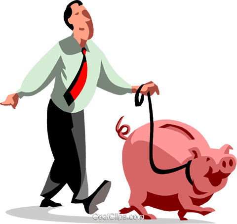 businessman walking his piggy bank Royalty Free Vector Clip Art illustration vc090490