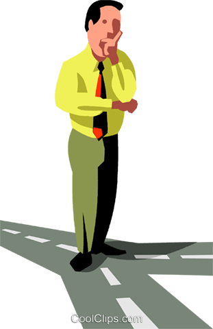 businessman at the crossroads Royalty Free Vector Clip Art illustration vc090514