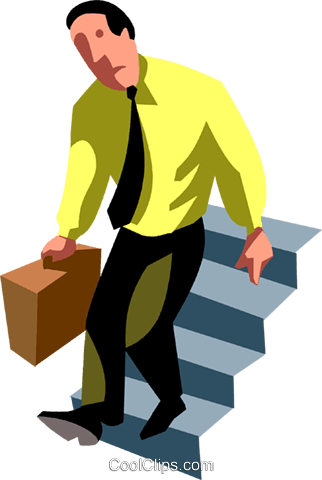 businessman going down stairs Royalty Free Vector Clip Art illustration vc090519