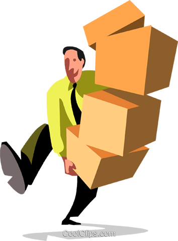 businessman carrying boxes Royalty Free Vector Clip Art illustration vc090529