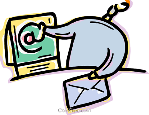 Man receiving e-mail Royalty Free Vector Clip Art illustration vc091030