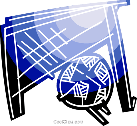 Soccer ball and net Royalty Free Vector Clip Art illustration vc091538
