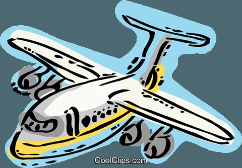 商用喷气式飞机 免版税矢量剪贴画插图