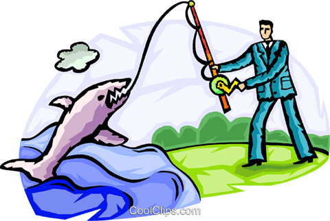 Fishing for Prospects Royalty Free Vector Clip Art illustration vc092573