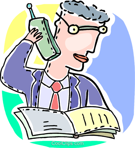 Men on the Phone at Work Royalty Free Vector Clip Art illustration vc092628