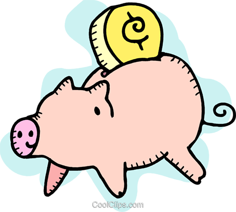 Change and piggy bank Royalty Free Vector Clip Art illustration vc092666